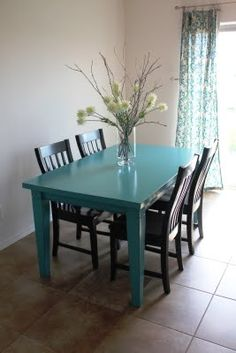 Super cute turquoise teal table black chairs for kitchenDIY white chalk paint on wood round table   turquoise chairs  . Teal Painted Kitchen Table. Home Design Ideas