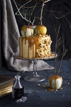 The Kate Tin: Halloween Poison Toffee Apple Cake with Caramel Peanut Brittle Buttercream and Snow White Apples