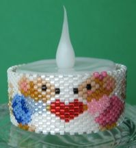 Mouse Valentine Tea Light Cover by Diane Masters AKA Phoenix Wolf Creations at Bead-Patterns.com