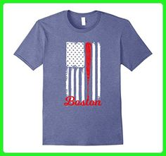 Mens Boston Baseball American Flag T-Shirt - Boston Baseball Fans XL Heather Blue - Sports shirts (*Amazon Partner-Link)