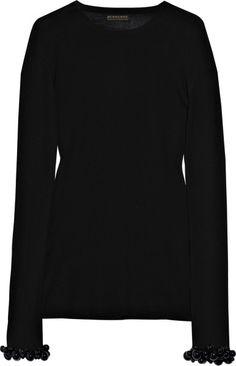 Burberry Prorsum Bead-embellished Wool Sweater in Black