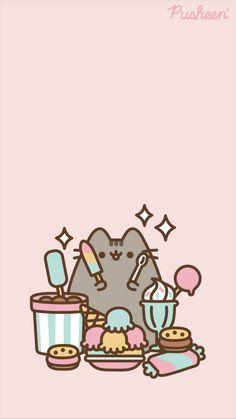 Pusheen the cat iPhone wallpaper - Halloween Wallpaper Gato Pusheen, Pusheen Love, Cute Kawaii Animals, Cute Animal Drawings Kawaii, Chat Kawaii, Kawaii Anime, Iphone Background Wallpaper, Aesthetic Iphone Wallpaper, Images Kawaii