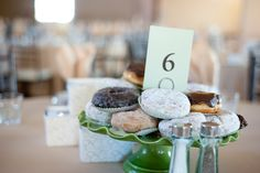 Las Vegas Wedding Planer, Springs Preserve Wedding, Las Vegas, Brunch Reception, Springs Cafe Reception, Donut Centerpiece, Ivory