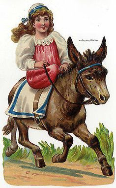 Vintage Edwardian die cut paper scrap, Girl riding on a donkey c. 1930
