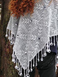 """""""Dewdrops"""" (crochet shawl, crocheting, wrap, crochet lace, crochet motif)"""