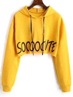 Letter Graphic Drawstring Crop Hoodie - Yellow S Crop Top Hoodie, Cropped Hoodie, Girls Fashion Clothes, Teen Fashion Outfits, Girl Outfits, Hoodie Sweatshirts, Bauchfreier Pullover, Trendy Hoodies, Jugend Mode Outfits