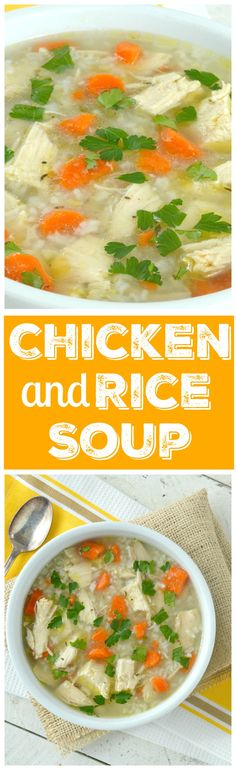 Super comforting, rich homemade chicken broth loaded with chicken, carrots and rice!