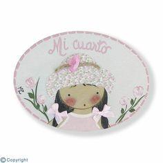 Mini placa infantil de puerta-Niña con sombrero-(mod.997).