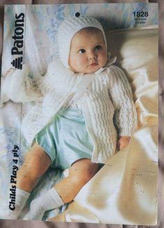 Baby Coat & Bonnet vintage knitting pattern 4 ply yarn 14-20 inch #Patons