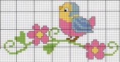 quilting like crazy Easy Cross Stitch Patterns, Simple Cross Stitch, Cross Stitch Bird, Cross Stitch Borders, Cross Stitch Animals, Cross Stitch Designs, Cross Stitching, Cross Stitch Embroidery, Hand Embroidery Projects