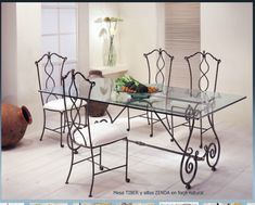 Wrought iron table and chair