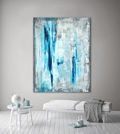 Large ORIGINAL ABSTRACT Painting Teal Blue White and Gray Painting Canvas Art Contemporary Art Modern Painting 54x40 Wall Art #71AB