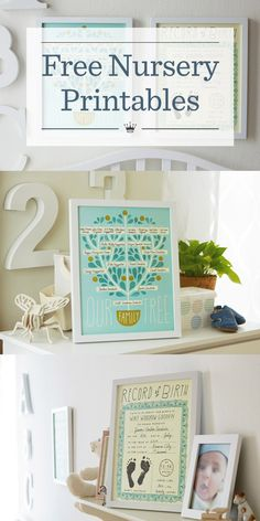 Free Nursery Printables | Download and personalize free printable nursery art from Hallmark artist Amber Goodvin. Includes family tree template and birth record printables in a variety of colors.