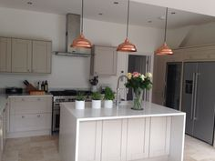 An example of standard kitchen in high ceiling- be aware and get your units full height to ceiling or we should drop the ceiling in that area at least to the Beam Grey Kitchen Cabinets, Kitchen Units, Open Plan Kitchen, Kitchen Family Rooms, Home Decor Kitchen, Kitchen Dining, Kitchen Ideas, Kitchen Designs, Kitchen Island