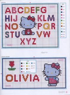 hello kitty cross stitch I like the letters Cross Stitch Letters, Cross Stitch For Kids, Cross Stitch Boards, Cross Stitch Baby, Lilo E Stitch, Stitch Cartoon, Cross Stitching, Cross Stitch Embroidery, Cross Stitch Designs