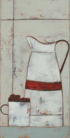 Anji ALLEN-Enamel Jug, Mug & Cherries
