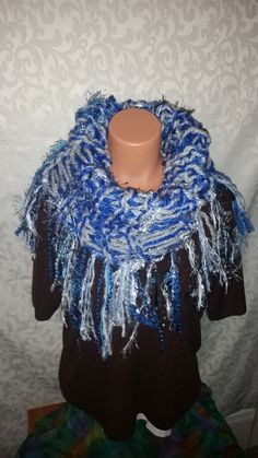 Blue & White Double Layered Shaggy Cowl  Handmade, cozy & full of rich colors & textures.