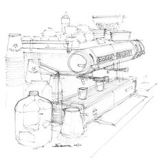 coffee shop sketch - Szukaj w Google
