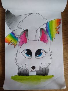 Pencil drawing rainbow wolf with wings Pencil Drawings, My Drawings, Snowman, Disney Characters, Fictional Characters, Wolf, Rainbow, Anime, Art