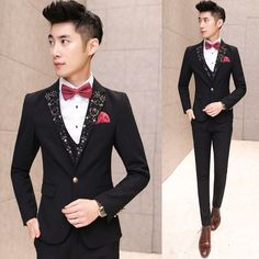 Men's Awesome Beaded Floral Slim Fit Wedding Party Prom Suit Jacket Vest Pants #Others #OneButton