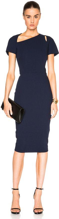 Victoria Beckham Light Matte Crepe Cap Sleeve Cut Out Dress