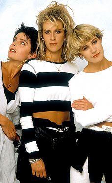 Bananarama 1980s. Cropped monochrome. Tick.