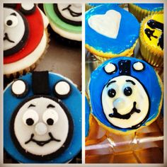 Thomas cupcakes - maybe use an Oreo for face?