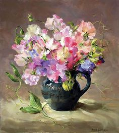 Sweet Peas - Limited Edition Print | Mill House Fine Art – Publishers of Anne Cotterill Flower Art