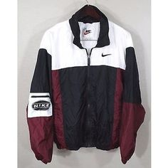 Vintage Nike Windbreaker Jacket Large Red White Blk 90s Retro Og Hip Hop Track