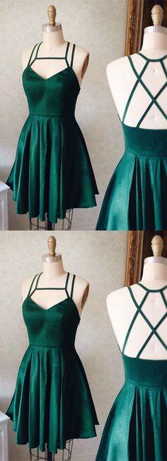 criss-cross back party dresses, cute green homecoming dreses, short semi formal dresses