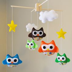 Customized Hanging Baby Owl Mobile with Designer Polka Dot Fabric - Clouds - Stars - CHOOSE your own COLORS. $60.00, via Etsy.