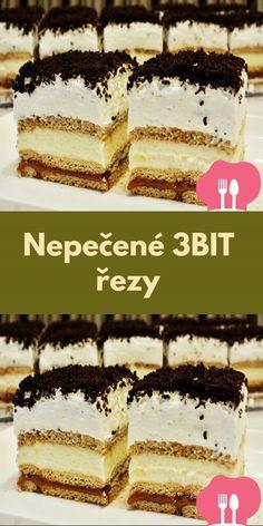 Nepecené 3BIT rezy Tiramisu, Ethnic Recipes, Food, Whipped Cream, Sheet Pan, Biscuits, Schokolade, Bakeware, Food Food