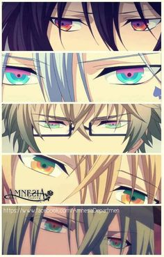 Amnesia - Shin, Ikki, Kent, Toma and Ukyo. I love so much their eyes. I was watching Amnesia and my mother look at the screen. She had seen many anime characters, but she said that their eyes are fabulous and most awesome ones she had seen. x3                                                                                                                                                     Mehr