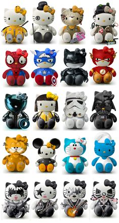 Hello Kill Bill, Clockwork Orange, Chainsaw, Ghostbusters, Spiderman, Captain America, Dark Knight, The Flash, Tron, Storm Trooper, Darth Vader, Garfield, Mickey Mouse, Smurf, KISS Kitty [Star Wars, Sanrio]