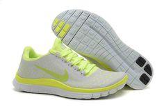 2014 Nike Free 3.0 V4 da Scarpe da corsa - Bianco Grigio verde fluorescente