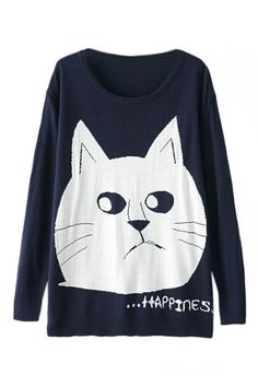 ROMWE | Cartoon Cat Face Knitted Jumper