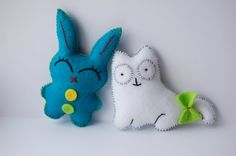 Bunny and cat hand sewn little cute felt stuffed toys plush dolls. $11.90, via Etsy.