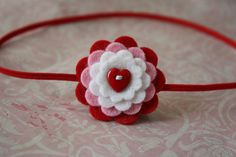Valentine's Day Wool Felt Button Flower Headband - Skinny Elastic - Newborn to Adult- Red Heart. $6.00, via Etsy.
