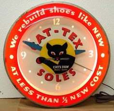 50s Vintage Cat's Paw Shoe Repair Light Up Advertising clock pre double bubble