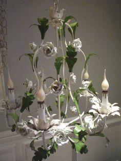 Vintage White Porcelain Rose Tole Chandelier by feelinvintage, $150.00