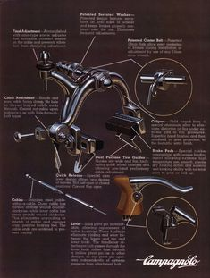 Campagnolo Record brakes ca Bicycle Race, Bicycle Parts, Vintage Cycles, Vintage Bikes, Cycling Art, Cycling Bikes, Paint Bike, Bicycle Illustration, Bike Components