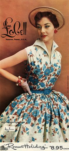 Pretty blue red and white floral dress - Nancy Berg - Lana Lobell 1954 Vintage Vogue, Vintage Glamour, Vintage Beauty, Vintage Outfits, Retro Outfits, Vintage Dresses, 1950s Dresses, Vintage Clothing, 1950 Style