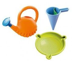 HABA Baudino Sand-Water Workshop (4010168048772) Perfect spilling fun! Makes working with fine sand easy and frun! For ages 3-5. Dimensions: height watering can 10.2 inches, height spilling funnel 6.3 inches, extra fine sieve 5.9 inches. Materials ABS plastic.
