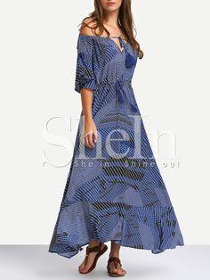 Navy Off The Shoulder Tie-waist Ruffle Hem Maxi Dress