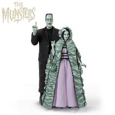 The Munsters Poseable Portrait Figure Collection With Sound Munsters Theme, The Munsters, Herman Munster, Lily Munster, Hooded Cloak, Brown Suits, Bradford Exchange, Funny Character, Doll Stands
