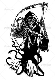Illustration about Black death with scythe for halloween or horror concept. Illustration of grim, halloween, cruel - 28113017 Free Tattoo Designs, Skull Tattoo Design, Skull Tattoos, Animal Tattoos, Skull Design, Art Tattoos, Rose Tattoos, Grim Reaper Art, Grim Reaper Tattoo