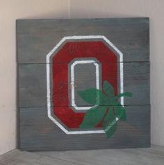 Rustic Ohio State Buckeyes Block O Wood Sign by HighStreetSignCo