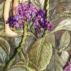Heliotrope flower fairy close up of leaves and flower.  Hand embroidery, silk ribbon and threads. Di Van Niekerk flower fairy design