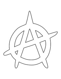 Anarchy symbol pattern. Use the printable outline for crafts, creating stencils, scrapbooking, and more. Free PDF template to download and print at http://patternuniverse.com/download/anarchy-symbol-pattern/