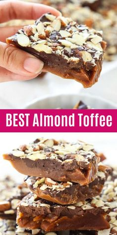 Toffee - easy and the best homemade almond toffee recipe that is sweet, n Almond Toffee - easy and the best homemade almond toffee recipe that is sweet, n. Almond Toffee - easy and the best homemade almond toffee recipe that is sweet, n. Candy Recipes, Sweet Recipes, Holiday Recipes, Dessert Recipes, Holiday Treats, Toffee Candy, Toffee Bars, Toffee Dip, Butter Toffee